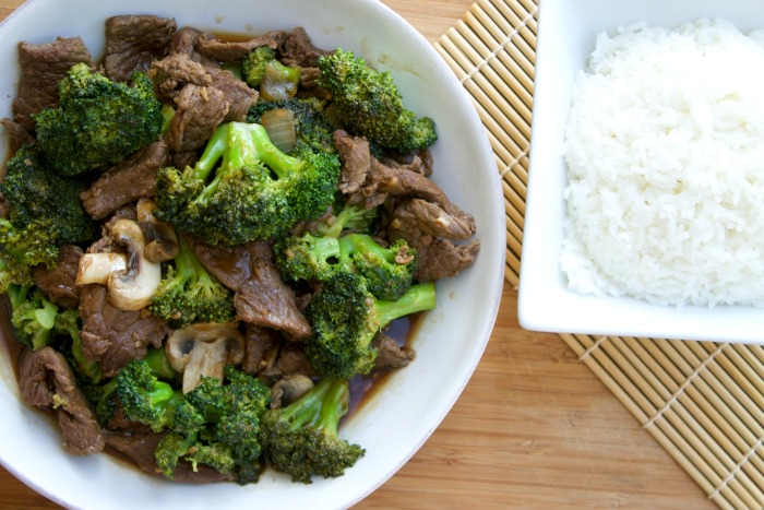 Picture of Broccoli and Cooked beef with rice.